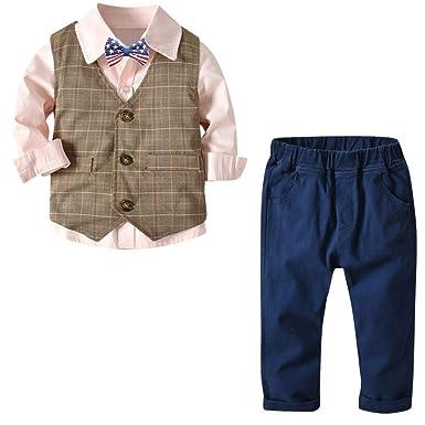 751a56351f632 YUMIKI 子供服 紳士服 男の子服 長袖 3点セットクルーネック キッズ パネルボーダー