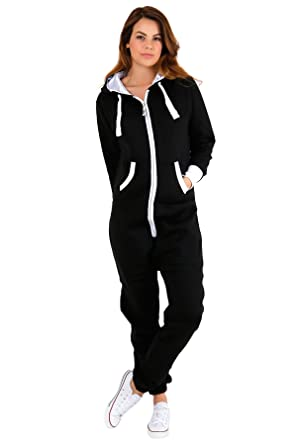 06a8afe791 janisramone Womens Ladies New Plain Fleece Hooded Onesie Zip Up Jumpsuit All  in One Playsuit Overall Nightwear  Amazon.co.uk  Clothing
