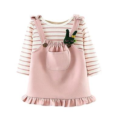 Kleinkinder Kinder Baby Mädchen Outfits Kleidung T-Shirt Oberteile Trägerkleid