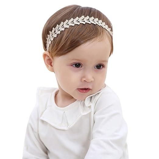 Amazon.com  Baby Girl Headbands Soft Lace Flower Elastic Princess ... 13722d601f7