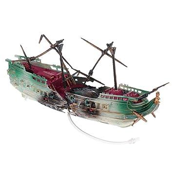 F Fityle Acuario Ornamento Naufragio Barco de Vela Hundido Barco Pecera Ocultar Cueva Decoración - Estilo 3: Amazon.es: Hogar
