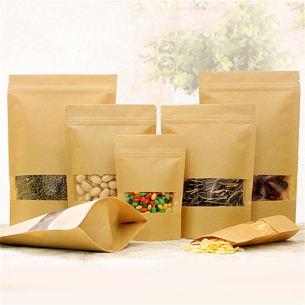 New/_Soul 50 pcs Bolsas de Papel con Ventana Proteger los Alimentos para Guardar Galleta Alimentos Secados Aperitivos 9*14*3cm