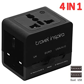 Travel Inspira - Adaptador cargador integral universal para viajes internacionales, adaptador de CA para enchufe de pared, con 2 puertos de carga USB, ...