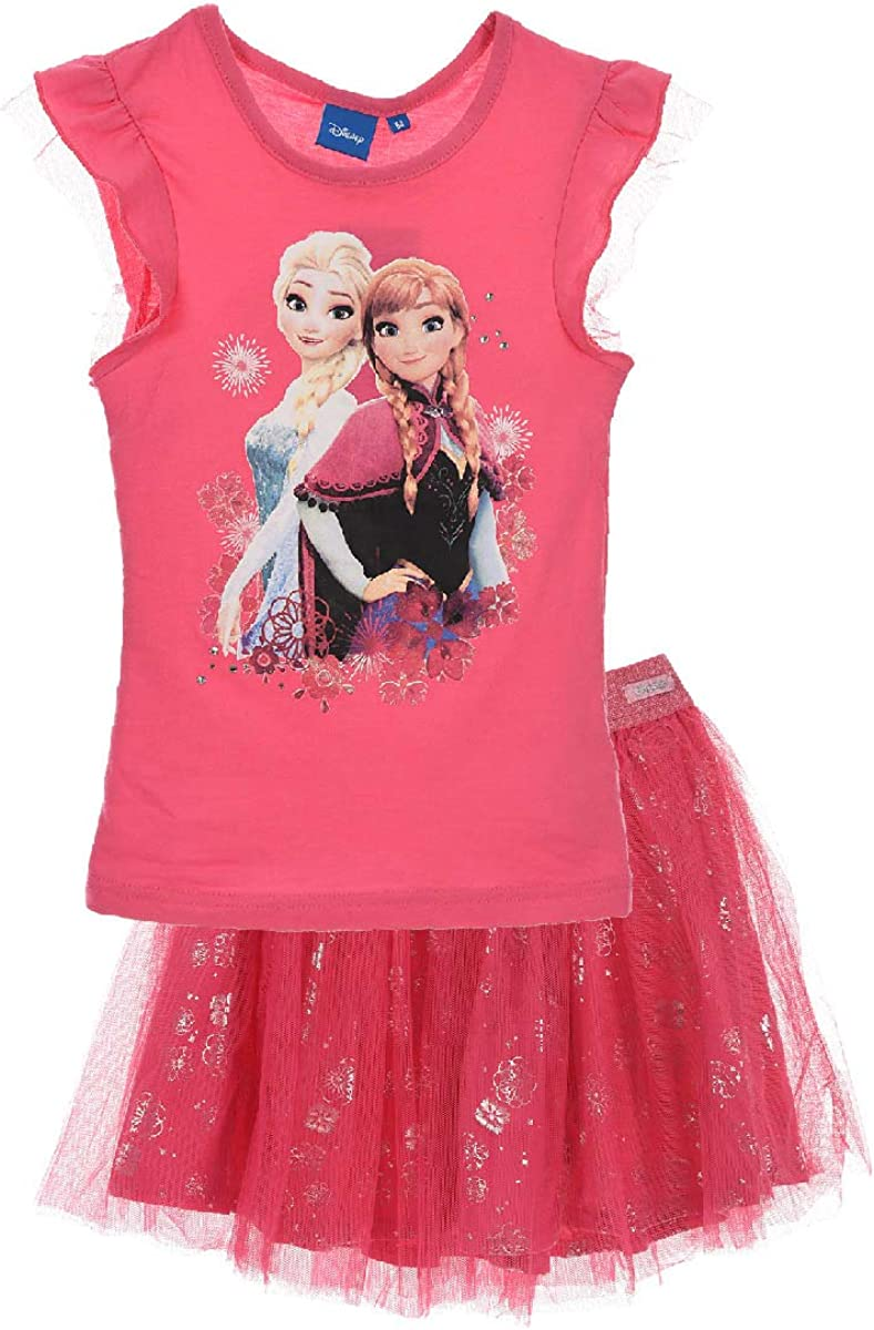 Girls ER1164 Disney Frozen Short Sleeve T-Shirt /& Tutu Skirt Size 4-8 Years