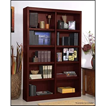 Wooden Bookshelves Double Wide 72u0026quot; Bookcase Library Shelving 10  Shelves ...