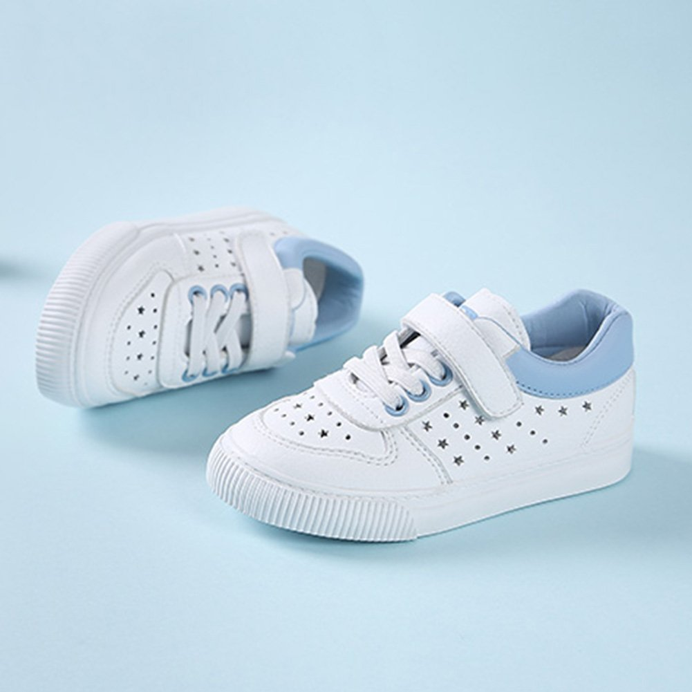 SFNLD InStar Kids Casual Cut Out Round Toe Hook and Loop Strap Low Top Walking Skate Sneakers