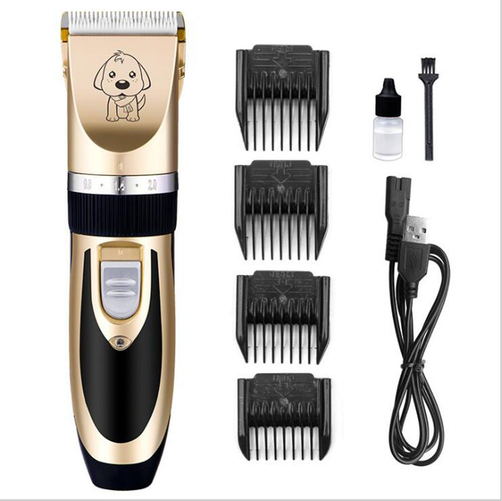 Dog Clippers, Low Noise Pet Clippers Rechargeable Cordless Dog Trimmer Pet Grooming Tool Professional Dog Hair Trimmer with 4 Comb Guides Scissors for Dogs Cats and Other Animals