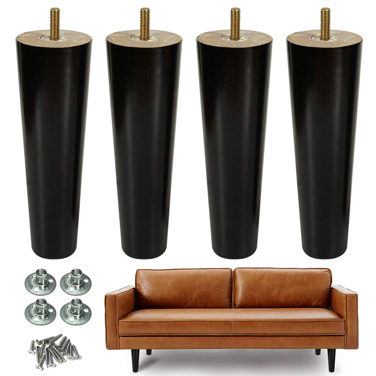 AORYVIC 8 inch Wood Furniture Legs Replacement Sofa Legs Pack of 4 for Couch Feet Chest of Drawers Cabinet DIY Furniture Project with Pre-drilled 5/16 Inch Bolt by AORYVIC (Image #1)