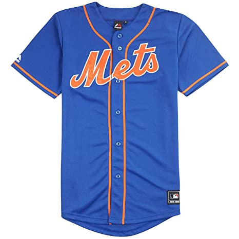 Majestic – Camiseta de Béisbol MLB Retro York Mets Azul Replica, Medium
