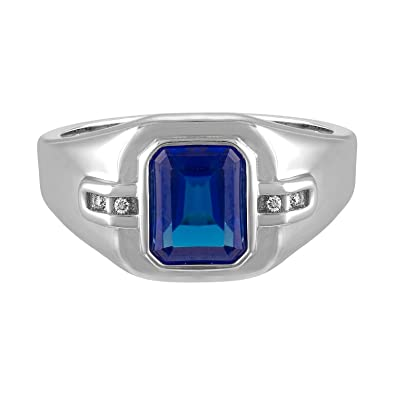 9b1e6c2d88527 Esty & Me Men's 9x7 Octagon Cut Simulated Sapphire Ring in Sterling ...