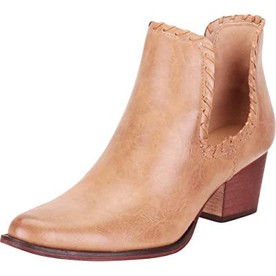 Cambridge Select Women's Western Pointed Toe Whipstitch Side Cutout Chunky Block Mid Heel Ankle Bootie | Ankle & Bootie