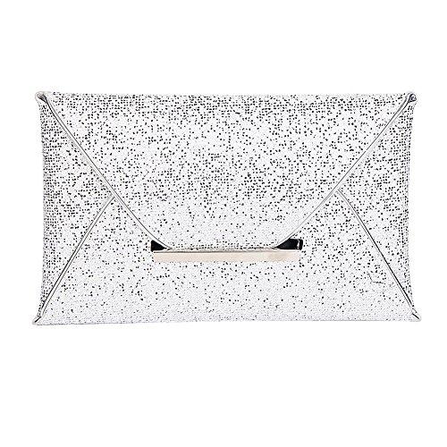 Clasichic Damen Frauen Envelope Clutch Handtasche Abendtasche (Silber)