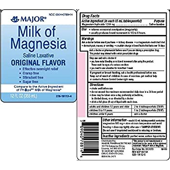 Major Milk of Magnesia Suspension, 400mg/5ml, 16oz Per Bottle (2 Bottles)