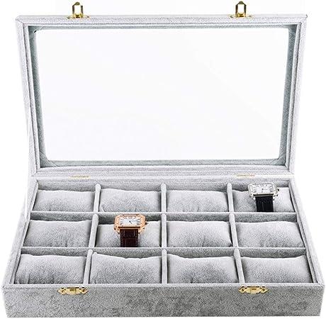 Caja de Caja de Reloj de 12 Ranuras Relojes Organizador, Relojes Joyería Pulseras Colecciones Pulsera Brazalete Bandeja de exhibición con Tapa de Cristal: Amazon.es: Hogar