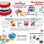 U.S. Cake Supply - Complete Cake Decorating Airbrush Kit with a Full Selection of 12 Vivid Airbrush Food Colors - Decorate Cakes, Cupcakes, Cookies & Desserts 11 Contains Everything You Need: Our kit contains everything you need to start creating edible masterpieces using your own personal touch! Kit includes a professional precision airbrush, air compressor with 3 air flow settings, 12 eye-catching vibrant U.S. Cake Supply airbrush food colors, detailed user guide manual with airbrushing tips and design techniques. To be used and enjoyed by everyone: It can be enjoyed by everyone from kids to adults and beginners to experts! Simply add a few drops of color to your airbrush, power up the compressor, pull the trigger and go! It's just that easy to start your own customized creations! Airbrushing is the Perfect Blend of Cake and Art: Unleash your imagination to create your own amazing designs on dozens of colorful cakes, cupcakes, cookies and desserts. Blend and shade colors, write script and add accents, use stencils to add detail, color fondant and other elements, plus so much more!