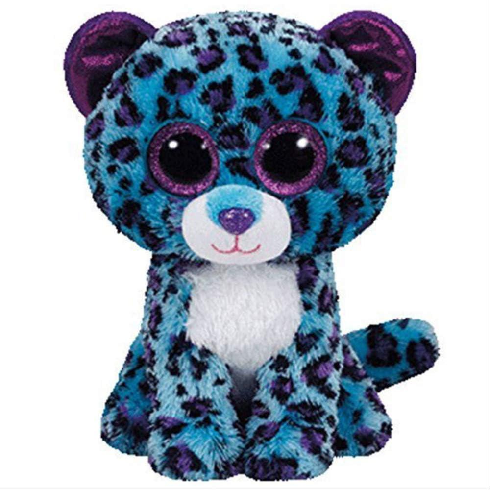 AYQX Ty Boos Peluche Dragón Pez Jirafa Perro Gato Conejito Zorro Búho Leopardo Peluche Peluche Muñeca Juguete con Corazón Etiqueta 15cm Lizzie Leopard