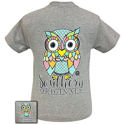 Girlie Girls Preppy Owl Gray Short Sleeve T-Shirt Adult (Small)