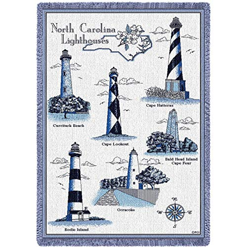Pure Country Weavers | Lighthouses of North Carolina Curritick Beach Cape Lookout Hatteras Bald Head Island Cape Fear Bodoe Ocracoke Woven Throw Blanket Collector Gift with Fringe USA Made Size 70x50