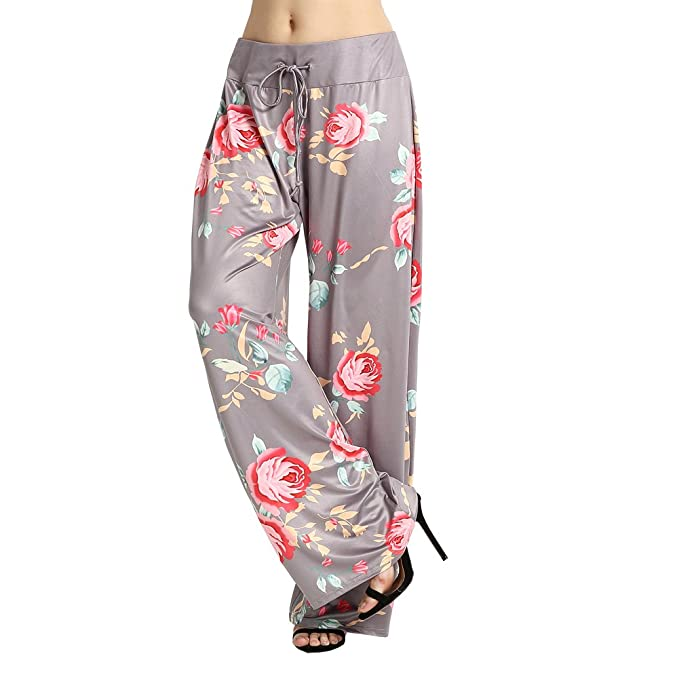 Ensasa Women s Wide Leg Pants Drawstring High Waist Floral Printed Grey  Casual Loose Yoga Pants d9ebd9fdeec