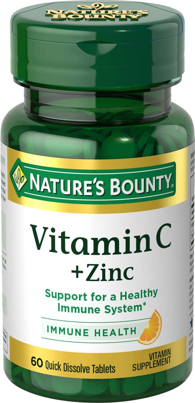 Amazon.com: Natures Bounty Vitamin C Plus Zinc, 60 Quick Dissolve Tablets: Health & Personal Care