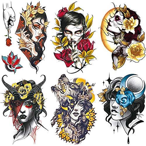 Oottati 6 Sheets Gothic Antelope Horn Vampire Wolf Girl Gold Flower Red Rose Temporary Tattoos