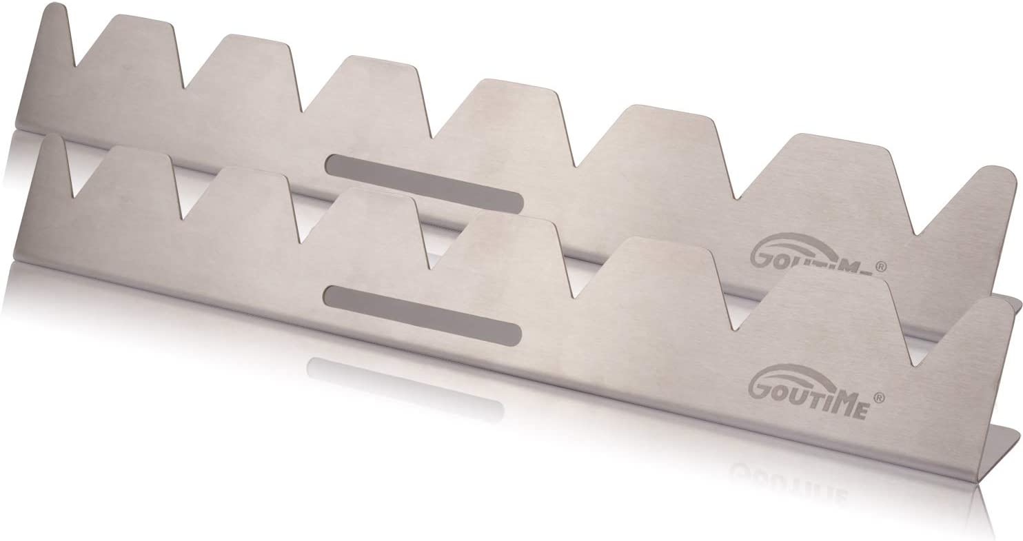 Goutime Stainless Steel Shish Kabob Skewer Rack, Universal Barbecue BBQ Skewers Holder for Grill