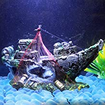 Resin Pirate Ship for Aquarium Ornament - Fish Tank Decorations Landscapes Accessories Wreck Sunk Ship Sailing Boat Destroyer for Fish and Shrimp to Avoid The House Large Size