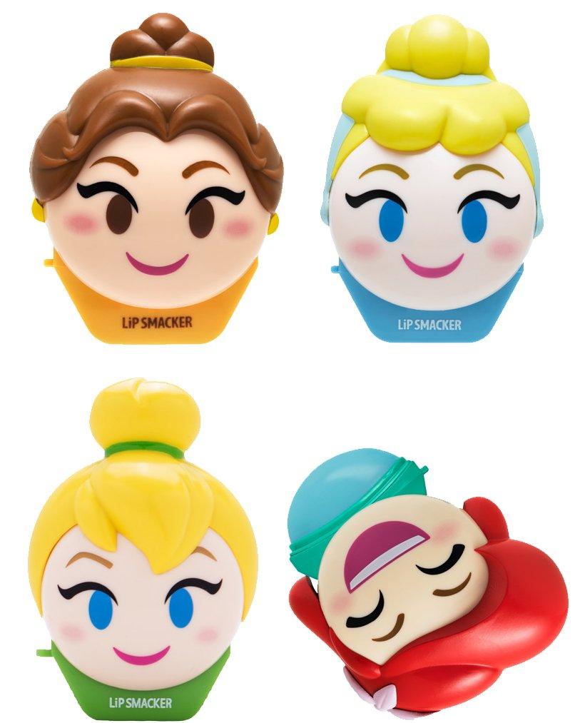 Lip Smacker Disney Emoji Lip Balm, Tinkerbell/Belle/Cinderella/Ariel, Set of 4 Lip Balms