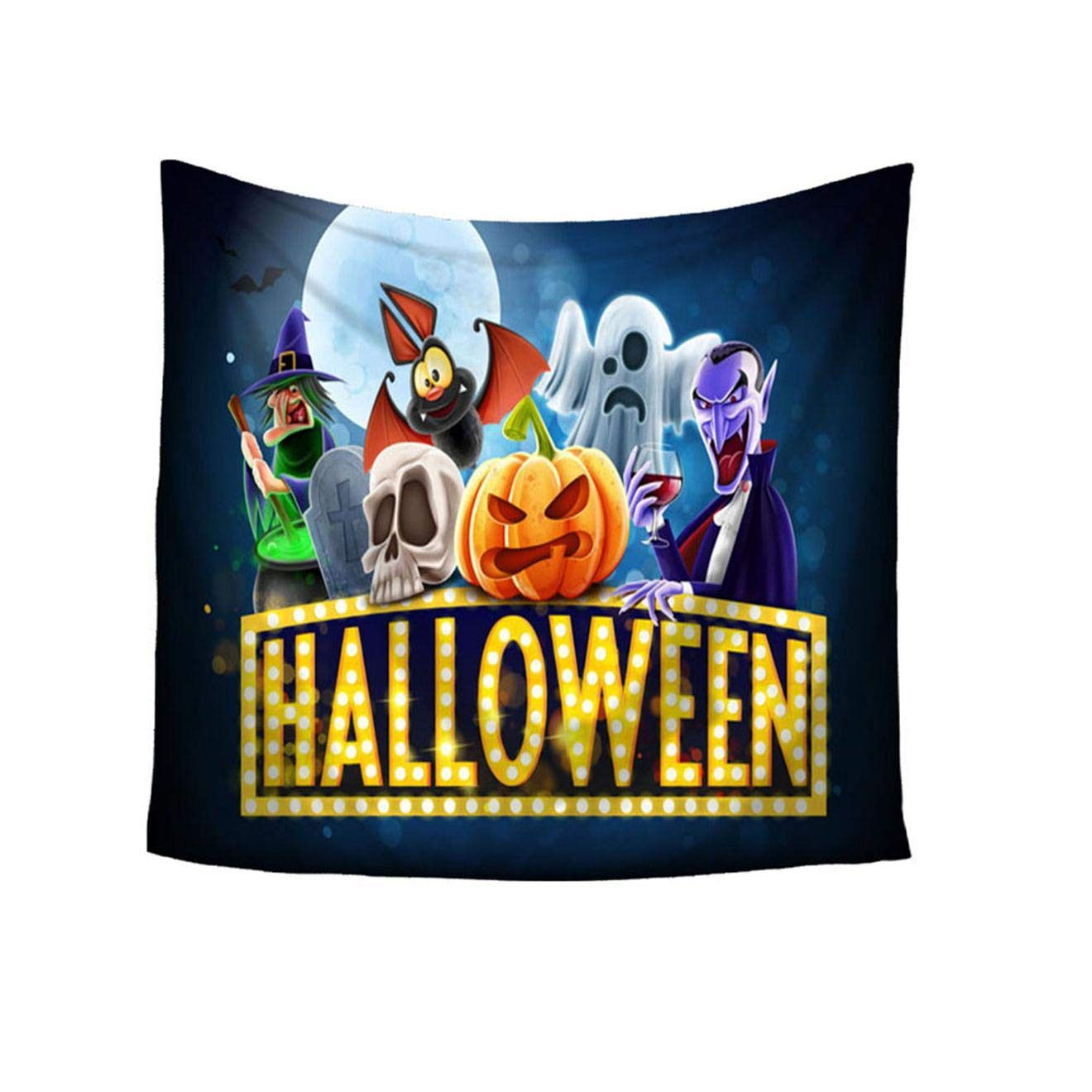 Wall Hanging Blanket Halloween Moon Tapestry Manzzy Halloween Printed Tapestry