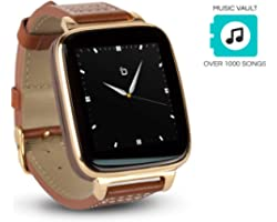 Bean Information Technology Engage Plus Smart Watch for Apple/Android Phones. 8GB of Music Storage. Gold with Leather Strap.