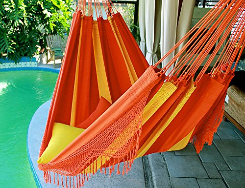 Orange Mix – Fine Cotton King Size Hammock with Croche Fringe, Made in Brazil