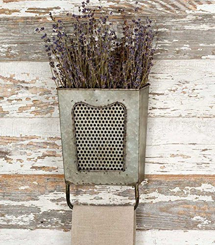 Colonial Tin Works Galvanized Steel Vintage Dalton Wall Box with Towel Bar, Galvanised