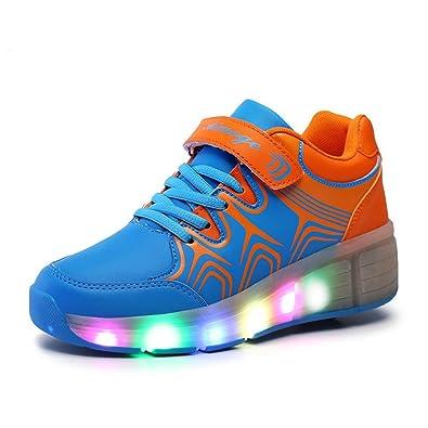 111f6e87dcbdc1 Justgreat Unisex Mädchen Jungen Kinder Mit Rollen Skateboard heelys Schuhe  USB LED Leuchtet Sneakers Sport Turnschuhe
