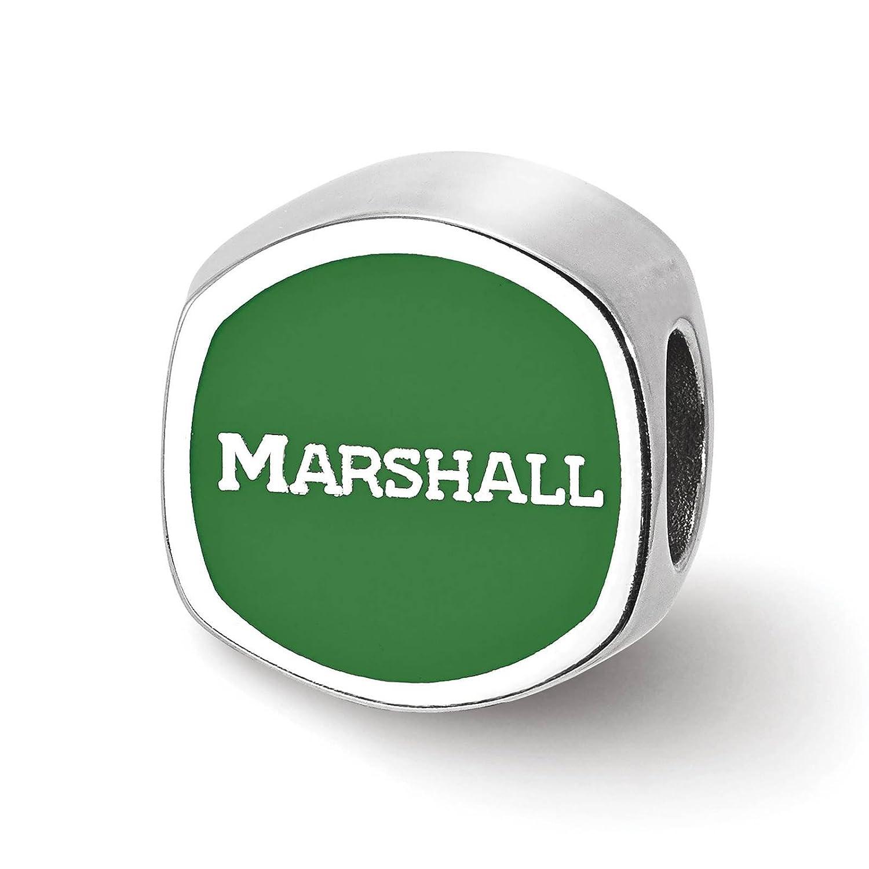 925 Sterling Silver Rhodium-plated Laser-cut Marshall University Cushion Shaped Double Logo Bead Charm