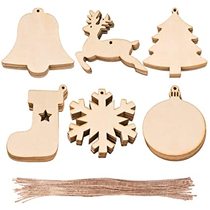 wxj13 30 pcs 6 styles wooden christmas hanging ornaments for diy wood crafts christmas decoration