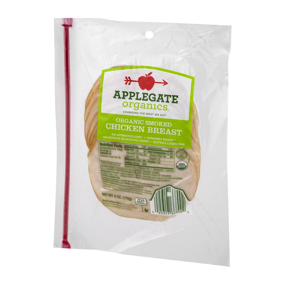 Applegate Organics Sliced Smoked Chicken Breast, 6 Ounce (Pack of 12)