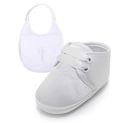 1ffda0d31afd6 DELEBAO Bébé Fille Blanc Chaussures en d espadrille Anti-dérapant Chaussure  Bapteme Bébé Semelle