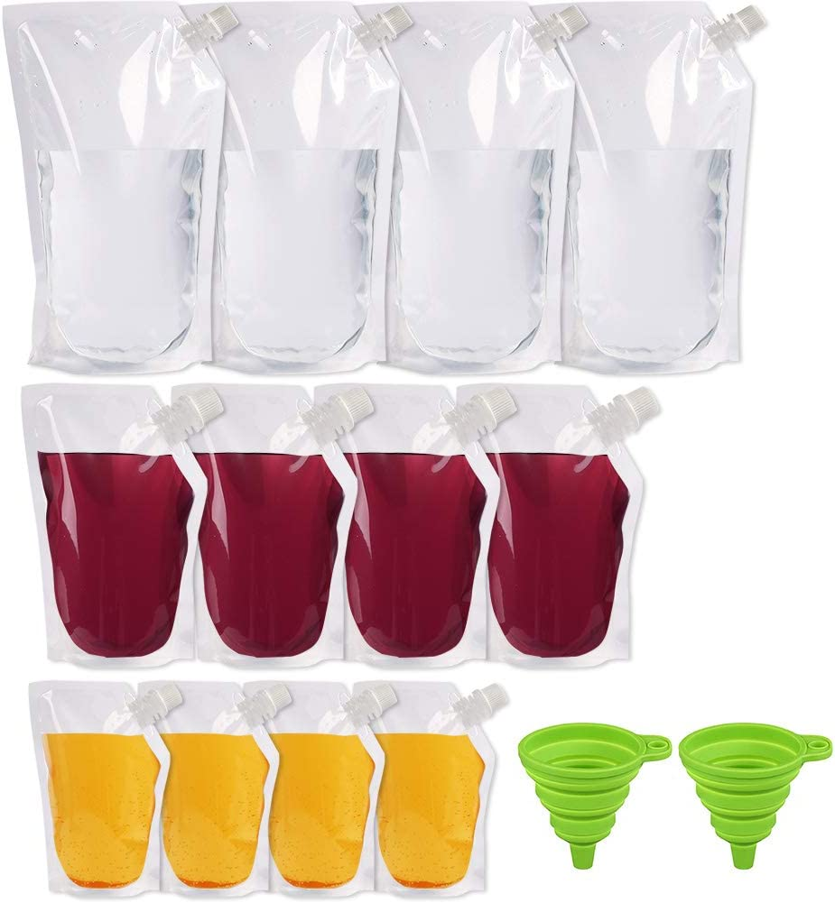 12pcs Plastic Flask for Liquor 8 16 32 Oz, Liquor Pouch Bulk, Sneak Alcohol Bags for Travels Cruises Ship, Reusable Drinking Flask with 2 Collapsible Silicone Funnels, BPA Free