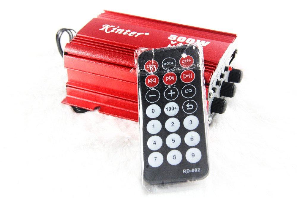 Rivenbert 500 W RMS Amplificador de Altavoz AMP para Coche y Moto de 2 Canales USB MP3 FM by