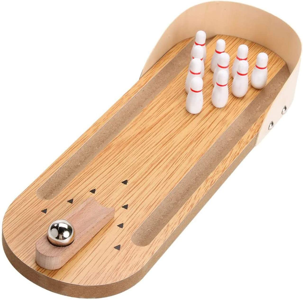 Desk Games Desktop Mini Bowling Set Toy - Unique Funny Office Gifts - Cool Novelty Wooden Tabletop Skittles Board Game - Family Fun for Kids Adults Men Coworkers Cute Finger Sports Bird Trick Training