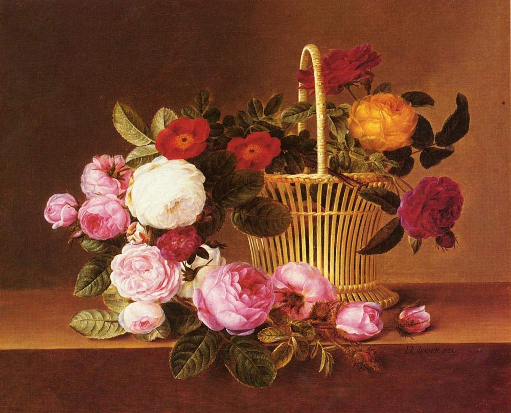 手描き-キャンバスの油絵 - Danish Basket Roses Ledg flower Johan Laurentz Jensen flower 芸術 作品 洋画 ウォールアートデコレーション -サイズ16 B07HLK57WP  48 x 96 インチ
