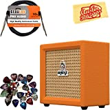 Orange Crush Mini Guitar Combo Amplifier Bundle with Instrument Cable, Pick Sampler, and Austin Bazaar Polishing Cloth