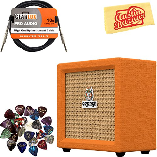 Orange Crush Mini Guitar Combo Amplifier Bundle with Instrument Cable, Pick Sampler, and Austin Bazaar Polishing ()