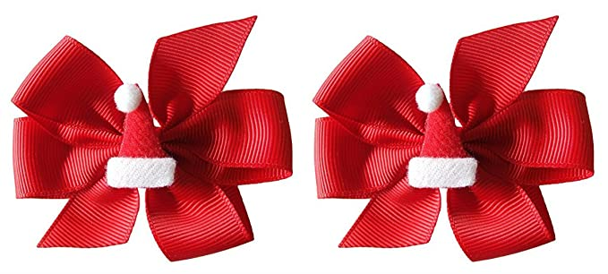 74dd932b0fd33 Felt Santa Hat 3 inch Hair Bow Set By Funny Girl Designs (Alligator Clips