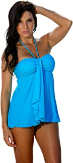 product image for Blue Sky Swimwear Women's Drape Front Tankini Top Solid Turquoise (Top Only)