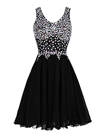 Tideclothes ALAGIRLS Beaded Straps Short Homecoming Dresses Chiffon Prom Cocktail Formal Gowns Black2