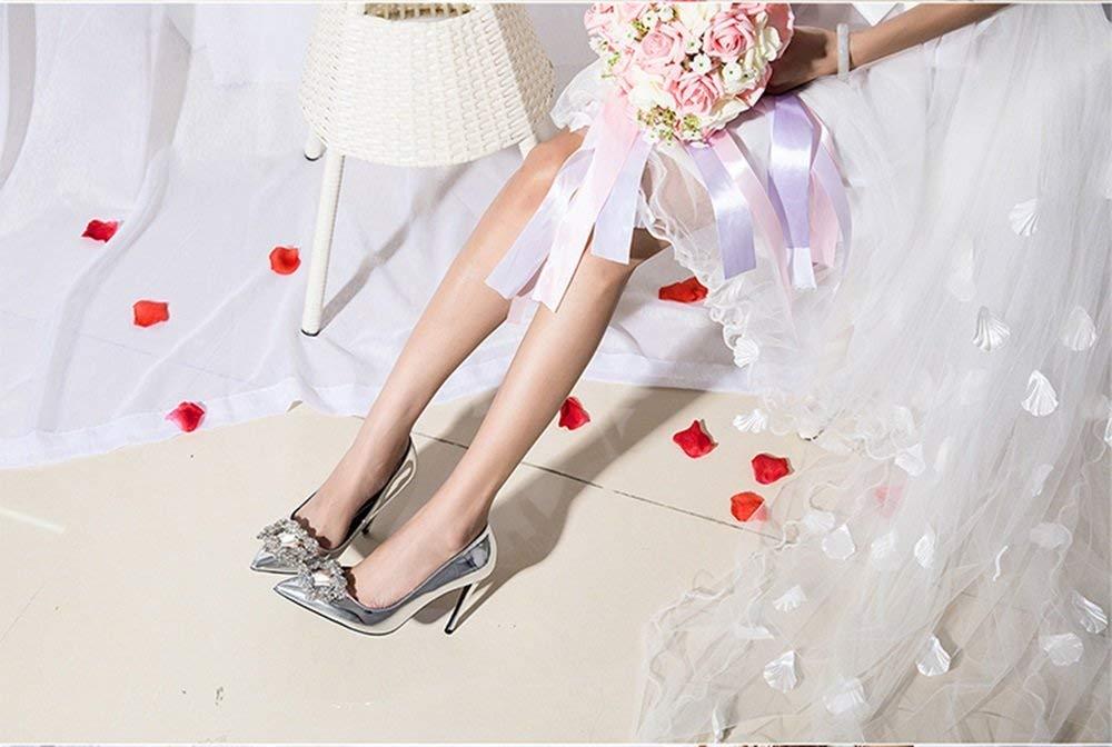 Schuhe 6cm Silber Braut, High Heels, feine Ferse flachen Mund Mund Mund Satin Strass Square Schnalle Single (Farbe   Silber6cm, Größe   37 EU) a254c7