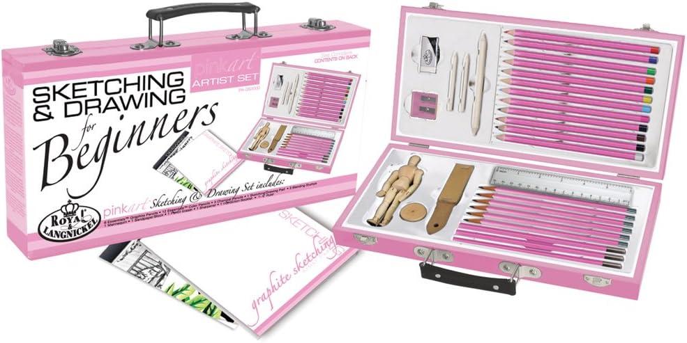 Royal & Langnickel Pink Art Beginner Artist Sketching and Drawing Wood Box Set, Sketch & Draw