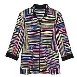 Product review for CATALOG CLASSICS Women's Striped Jacket - Peppermint Stripe Razor Cut Stretch Coat