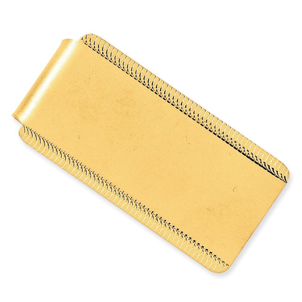 14K Yellow Gold Satin Polished Engraveable Edge3-Design Money Clip